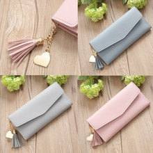 Wallet Women Trend Solid Color Long Fringed Leather Card Wallet Fashion monederos para mujer luxury 2019 portafoglio donna#20