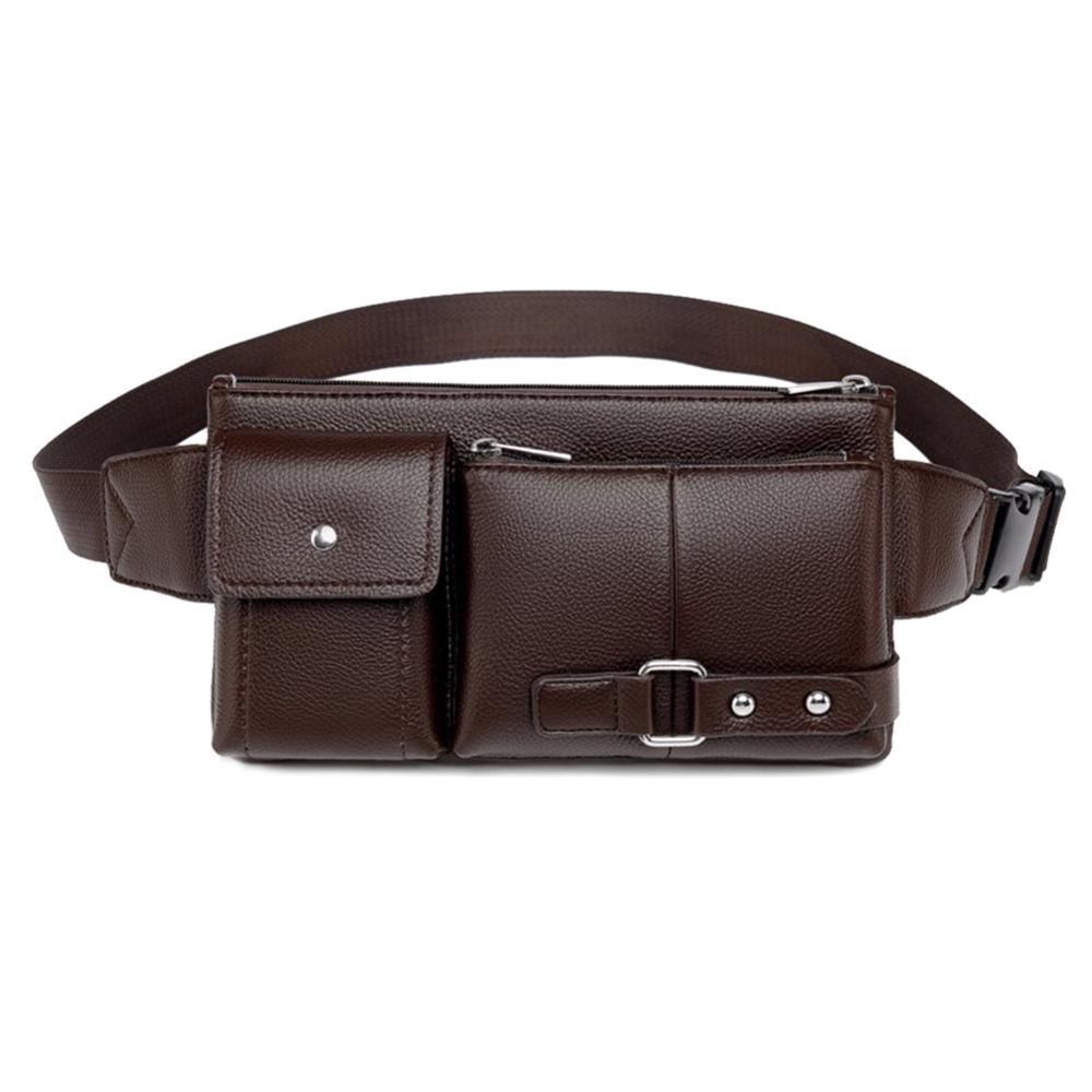 Vintage Solid Color Shoulder Waist Bag For Men Fanny Belt Packs Business Casual Male Crossbody Chest Bags PU Leather Phone Pouch