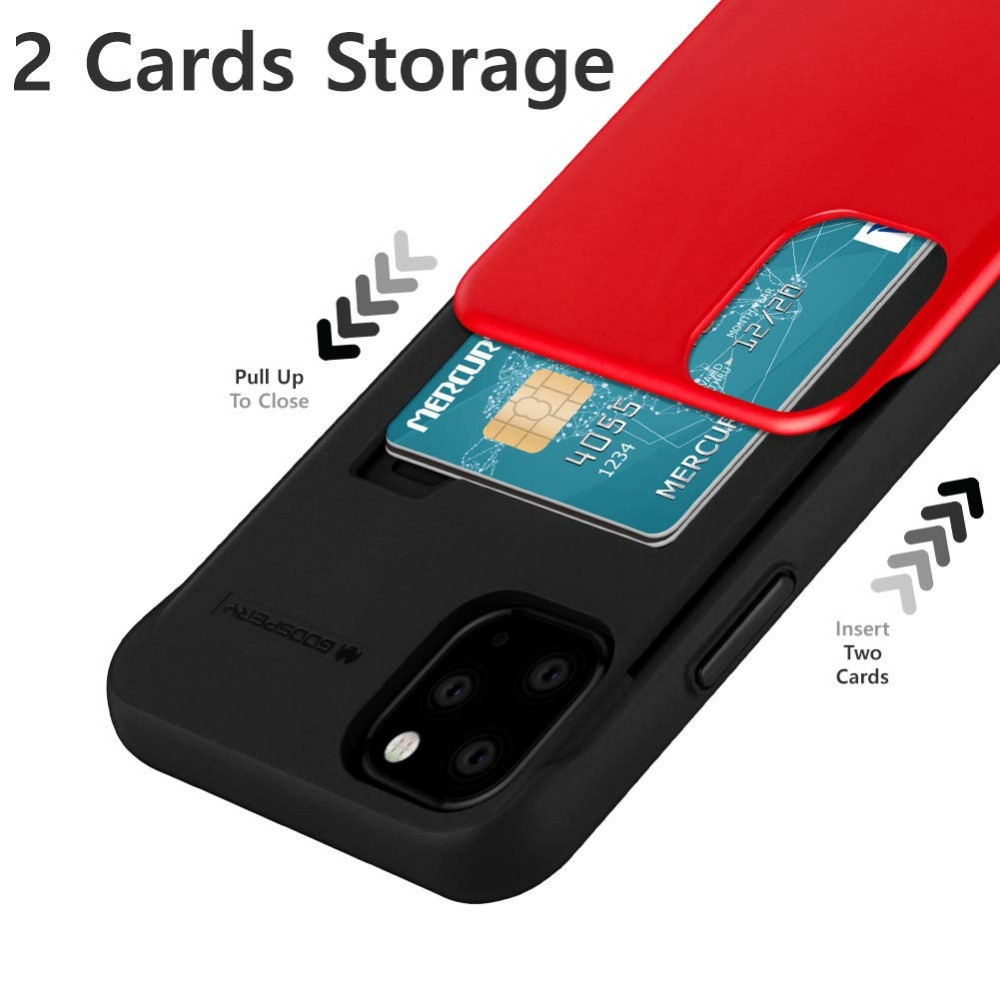 Original Mercury Slide Bumper Back with Slot Card Holder Wallet Hard Case Cover for iPhone 12 Pro Max 2
