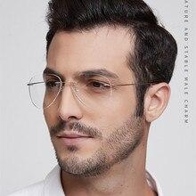 Pilot Ultra-light Memory Titanium Rimless Aviation Myopia Eyeglasses Optical Glasses Frame Men Spectacle Prescription Eyewear