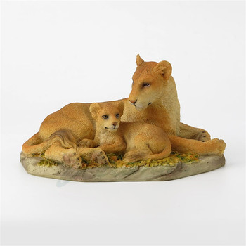 Lion Art Sculpture Decoration Lion and Cub Animal Figurine Statue Resin Crafts Home Decoration Creative Birthday Gift R4970
