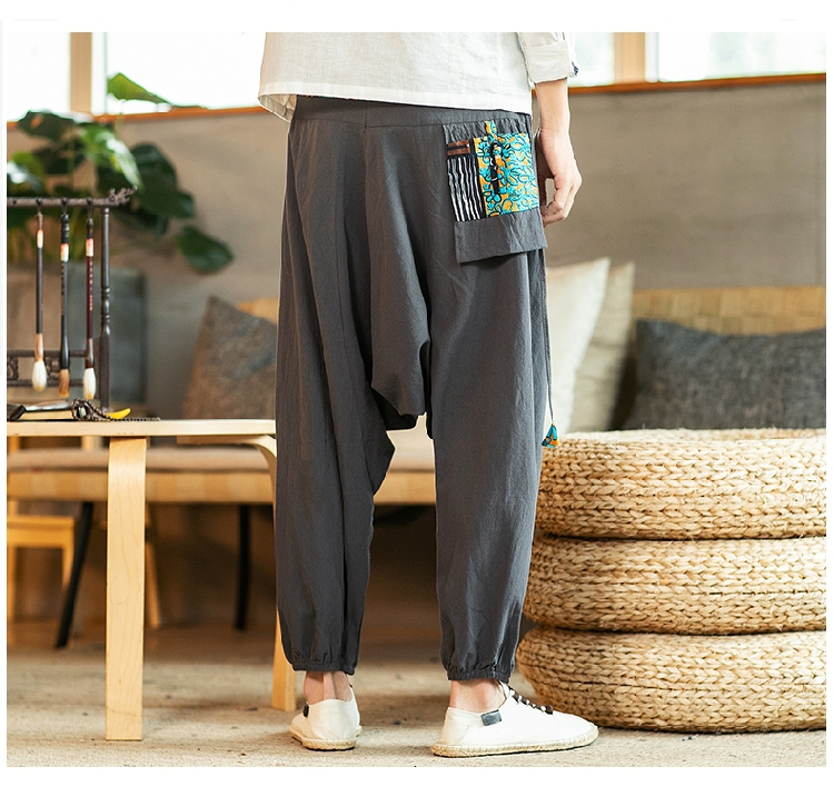 Sinicism Store Chinese Cross-Pants Men 2020 Autumn Oversize Fashion Mens Patchwork Button Pants Male Wide-legged Loose Pants 55