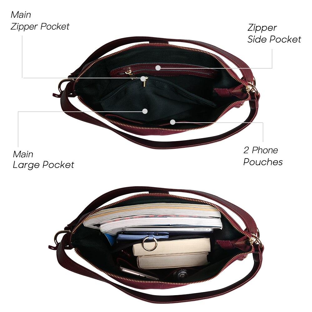 Real dividido de cuero de gamuza bolso de hombro bolsa de ocio femenino Nubuck Casual bolso Hobo mensajero Bolsos de la manija - 5