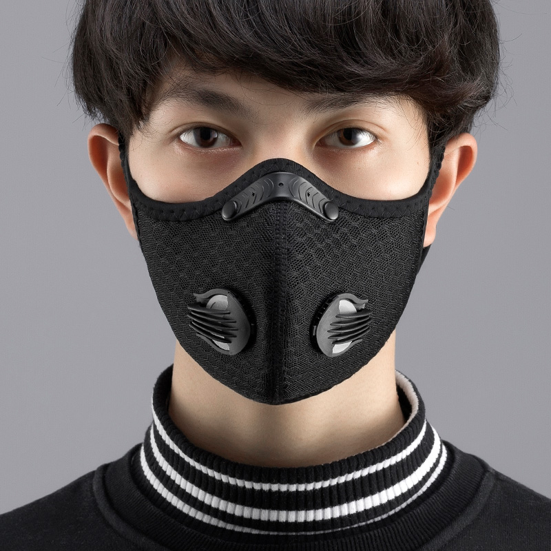 2Pcs Mask Met Replament Pad Face Cover For Mouth Caps Mask Black Reusable And Washable For Cycling Outdoor Working Essentia
