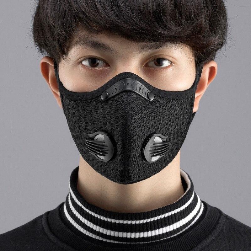 2Pcs Mondkapjes Met Replament Pad Anti Face Cover For Mouth Caps Mask Black Reusable And Washable