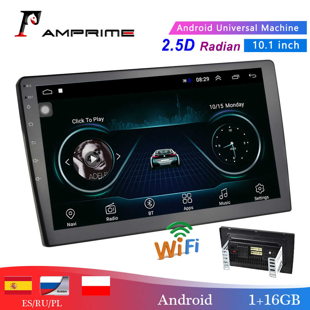 "Amprime 10.1 ""Auto Multimedia Speler 2 Din Android Auto Stereo Radio Bluetooth Wifi Audio Mirrorlink MP5 Speler Met Achter camera"