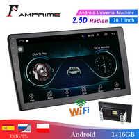 AMPrime 10.1 2 Reprodutor multimídia Carro din Android Car Stereo Radio Bluetooth WI-FI Mirrorlink MP5 Player de Áudio Com Traseira câmera
