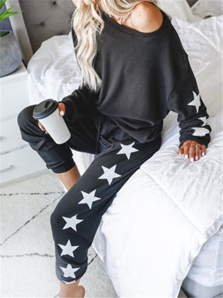 New Print Loose Tracksuits Lounge Wear Women Casual Two Piece Set Spring Street T-shirt Tops And Jogger Set Suits 2pcs Outfits