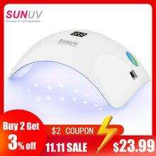 SUNUV SUN8 UV LED נייל מנורת 48W ציפורניים ג ל מייבש 30s 60s טיימר 90s חום נמוך מצב ריפוי UV LED ג לים לק אמנות כלים