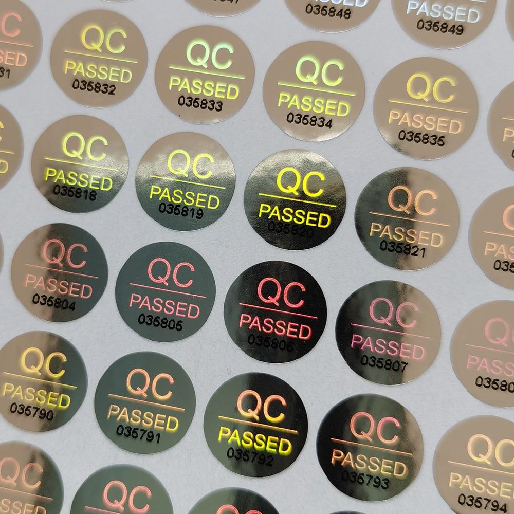2000 шт. 10mmX10mm голограммные наклейки QC прошел безопасности гарантия безопасностью трамбовки серебро один раз дизайн с логотипом на заказ