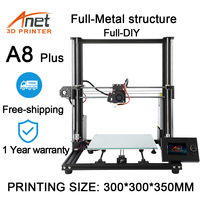 Anet A8 Plus 3D Printer Kit Full Metal Structure 300x300x350mm Printing Size With PLA Filament Full DIY 3d printer 3D Drucker