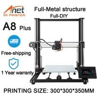 Anet A8 Plus 3D Printer Kit Full Metal Structure 300x300x350mm Printing Size With PLA Filament Full DIY 3d printer 3D Drucker