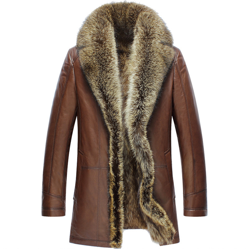 Real Fur Coat Men Genuine Leather Jackets Natural Raccoon Fur Liner Winter Cow Leather Jacket Men 2020 86113 KJ2456