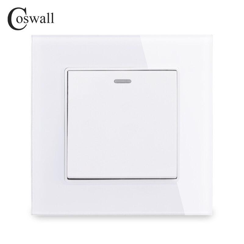 Cosmall 1 Gang 1 Way Interruptor de luz de Panel de cristal de lujo Interruptor de pared On/Off 16A