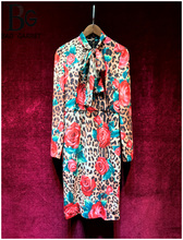 Baogarret Runway Custom Made Spring Summer Leopard Rose  Printed Dress Womens Elegant Bow Collar Slim Female Party Midi Dresses