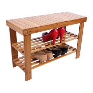 Image 1 - 2 camadas moderno e minimalista sapato rack sapatos bancada sapato parafusos de armazenamento de madeira maciça armário sapato prateleiras de sapato de bambu