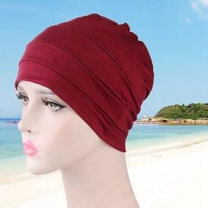 Image 3 - New WomenS Cotton Modal Cotton Head Cap Sleep Chemotherapy Cap Base Elastic Cloth Hair Accessories Muslim Headscarf