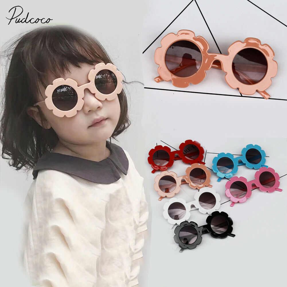 New 2020 Children Kids Girl Sun Plastic Eyewear UV400 Round Flower Sunglasses