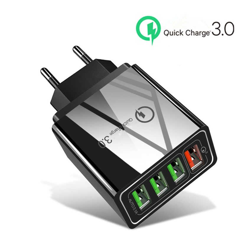 48W Charger Cepat QC 3.0 3.0 USB Charger untuk Samsung A50 A30 iPhone 7 8 Huawei P20 Tablet Cepat charger Dinding US Steker Inggris Uni Eropa Adapte