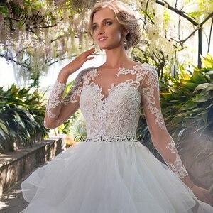 Image 3 - Liyuke الكشكشة ألف خط فستان زفاف الأميرة مع كم طويل من فستان عروس بلا ظهر