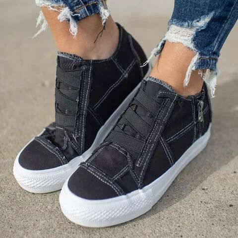 New Fashion Women Sneakers Denim Casual Shoes Female Summer Canvas Shoes Trainers Lace Up Ladies Basket Femme Tenis Feminino