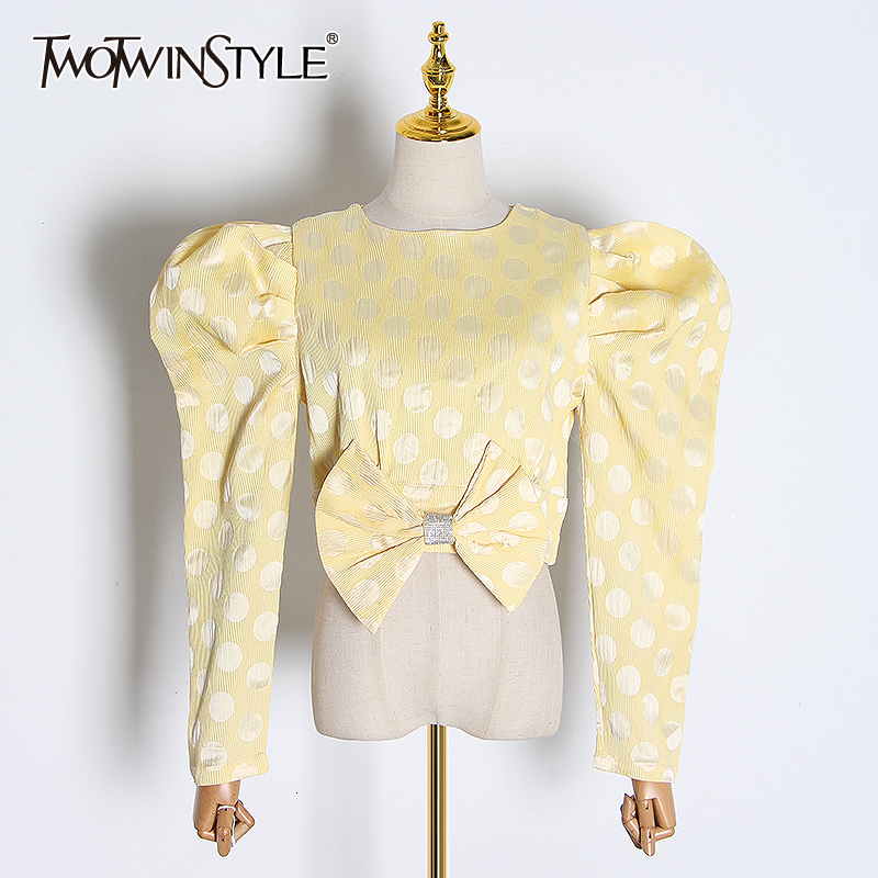 TWOTWINSTYLE Casual Polka Dot Bow Women's Blouses O Neck Puff Long Sleeve Elegant Ruched Shirts For Female Fashion Clothing Tide