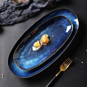 Ceramiczny talerz Sushi ryba talerz na owoce taca gastronomiczna tacka do serwowania posiłków talerz na przekąski dla domu restauracja Hotel tanie i dobre opinie ROSENICE Owalne Stałe
