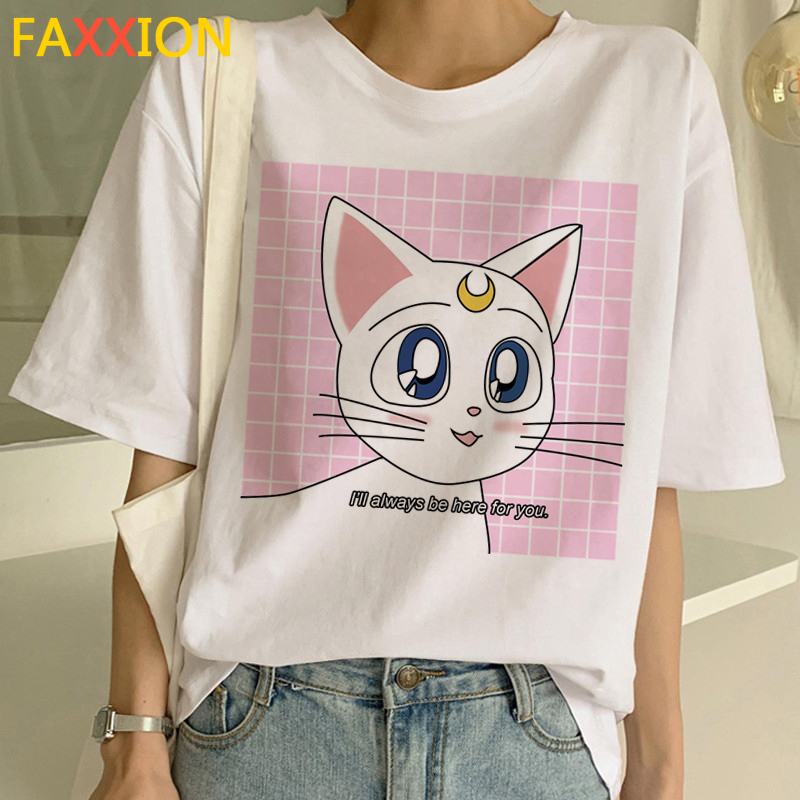 2020 Sailor Moon Harajuku Ullzang T Shirt Women 90s Funny Anime T-Shirt Cute Cat Tshirt Aesthetic Cartoon Top Tee Female