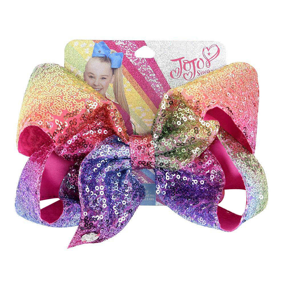 "8"" Sequin Rainbow JoJo siwa Bow With Hair Clip For Girls Kids Handmade Boutique Knot Jumbo Hair Bow Hairgrips Hair Accessories"