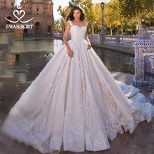 Elegant Applicaties Kralen Trouwjurk Swanskirt GI09 Sweetheart Baljurk Aangepaste Prinses Bruidsjurk Vestido De Novia