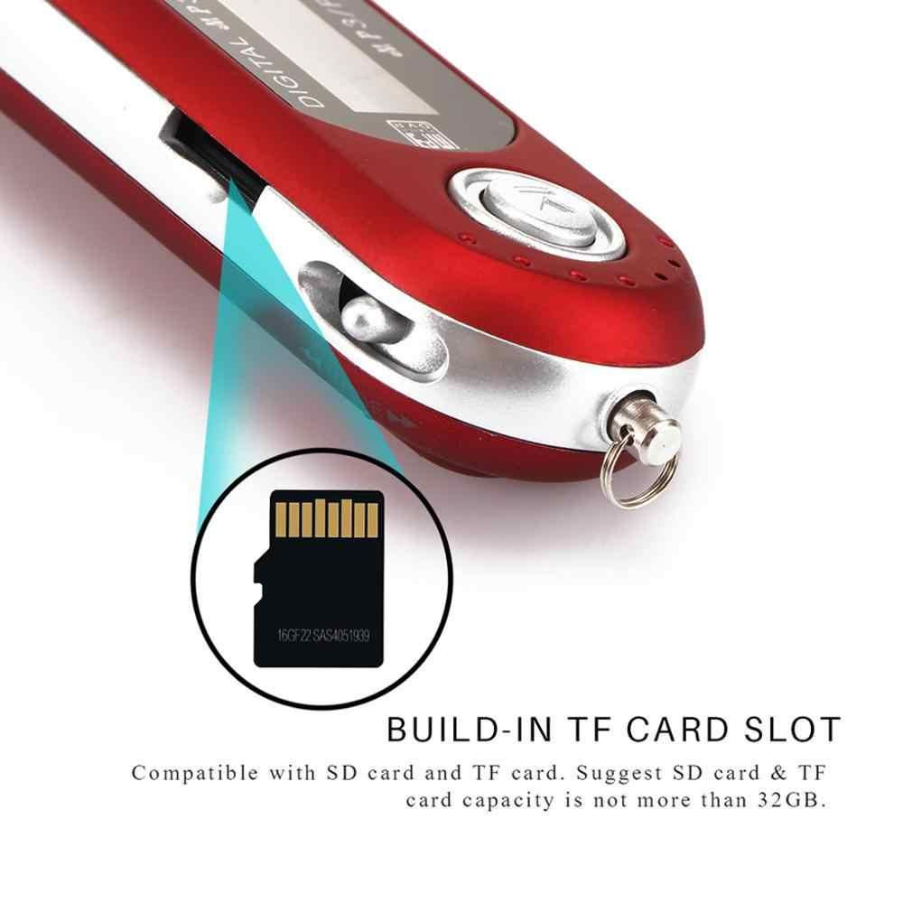 USB MP3 مشغل موسيقى شاشة عرض بلورية رقمية دعم 32GB TF بطاقة وراديو FM مع ميكروفون أسود أحمر مشغل MP3 جديد