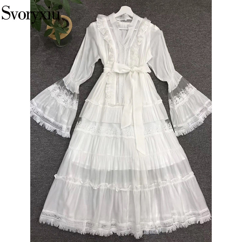 Svoryxiu Designer Autumn Winter Elegant Party White Long Dress Women's Big Flare Sleeve Embroidery Ruffles Sexy V-Neck Dress