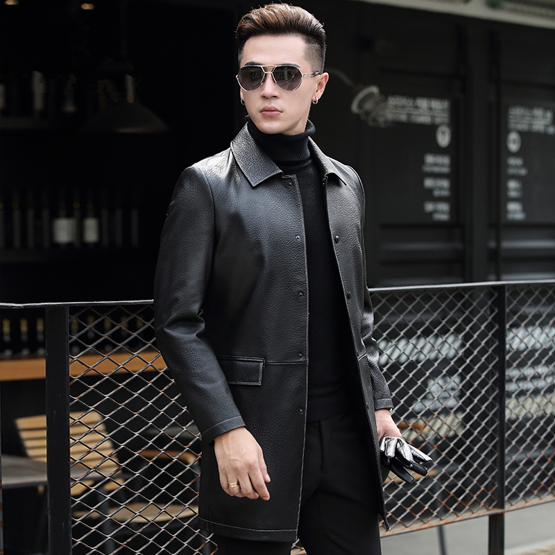 Genuine Leather Jacket Men Clothes Men Sheepskin Coat Autumn Long Leather Jackets Chaqueta Cuero HombreP-2-7193-3 ZL920