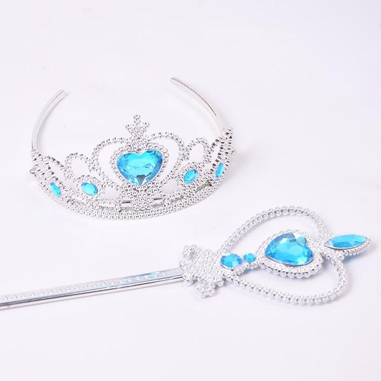 2pcs/set Headband Elsa Princess Crown Cosplay Baby Girls Toys Snowflake Magic Stick Children Party Toys Birthday Gift Photo Prop
