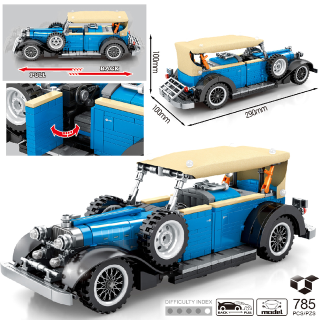 MOC 785pcs Classic Car City Pull Back Sports Car Building Block Model High-Tech Speed Roadster Kid Toy Assembled DIY Bricks Gift 1