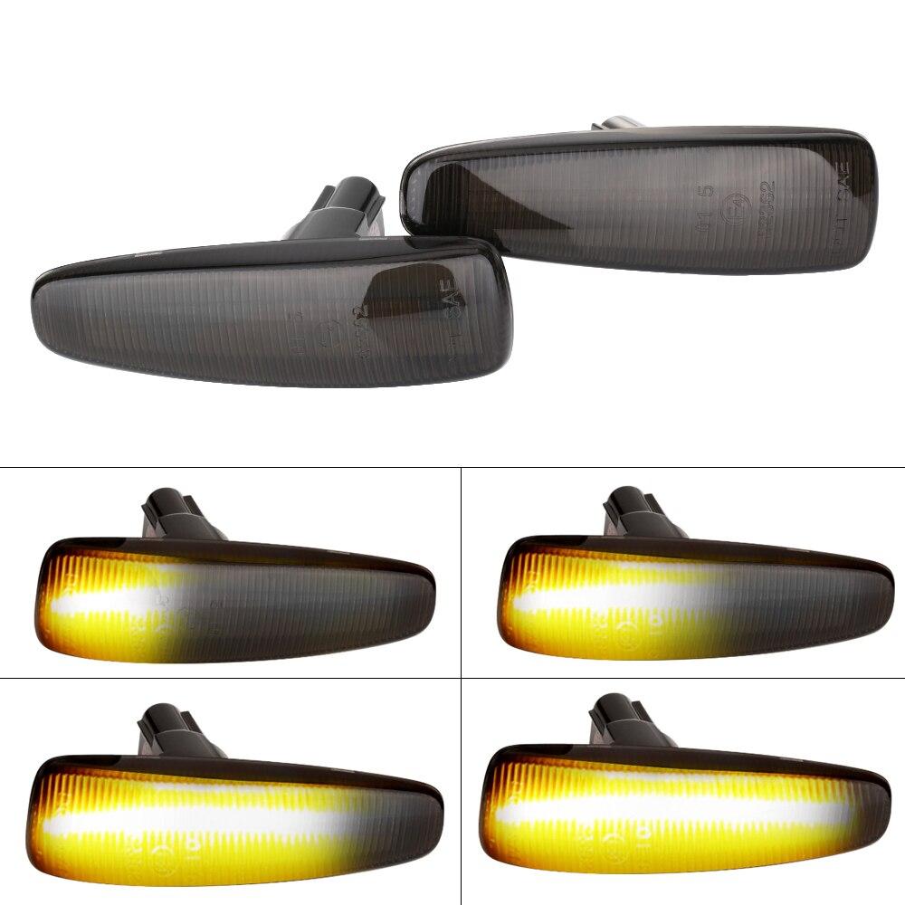 2 peças âmbar dinâmico led fender lado marcador turno sinal luzes amarelo 8351a001 para mistubish lancer evo x fumaça led luz