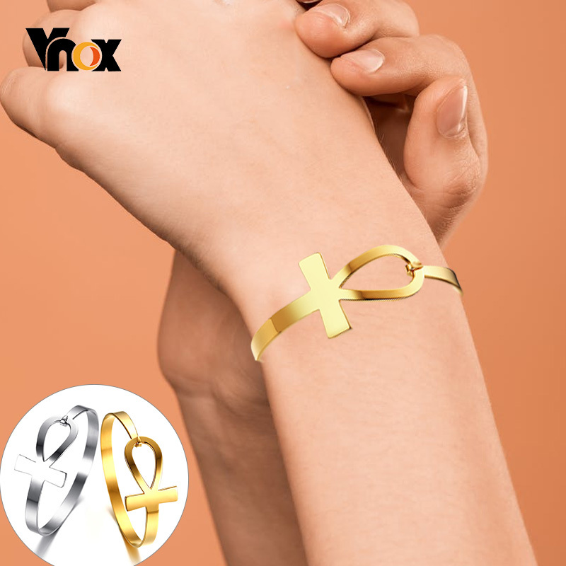 Vnox Ankh Cross Bracelet for Women Stainless Steel Key of Life Bangle Bracelet Female Egypt Religious Jewelry 2.3