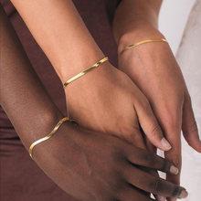 Pulsera de cadena serpiente plana chapada en oro de 18k para mujer, accesorios de cadena de espiga, regalo de joyería