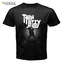 New THIN LIZZY Irish Hot Rock Band Music Legend Men's Black T-Shirt Size S - 3XL O-Neck Oversize Style Tee Shirts Styles цена и фото