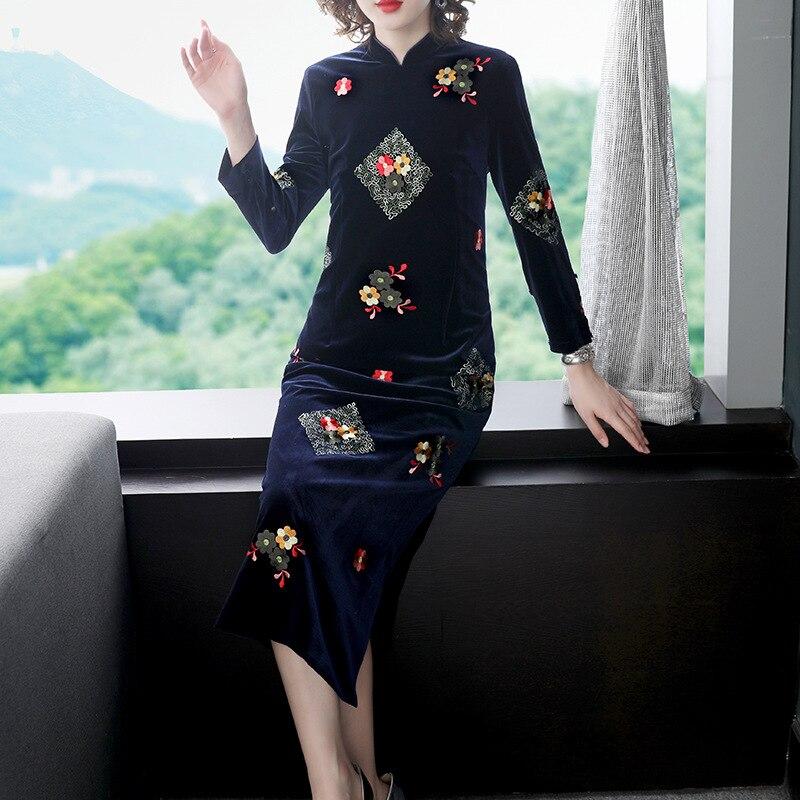 Китайский стиль, осенняя и зимняя новая одежда, женская одежда, воротник-стойка, плюшевое Сращивание, длинное платье, платье чонсам
