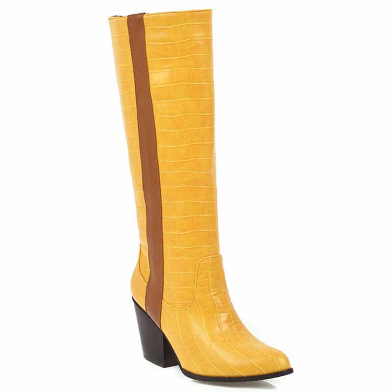Lsewilly Plus Kích Thước Thời Trang Cao Gót Ống Cao Bồi Miền Tây Người Phụ Nữ Màu Vàng Xanh Dương Hiệp Sĩ Đen Dài Giày Mùa Đông Nữ