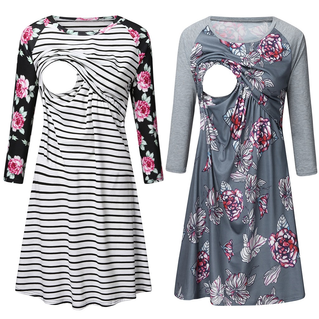 Women Pregnant Nusring Maternity Nightdress Breastfeeding Tie Up Nightwear Dress