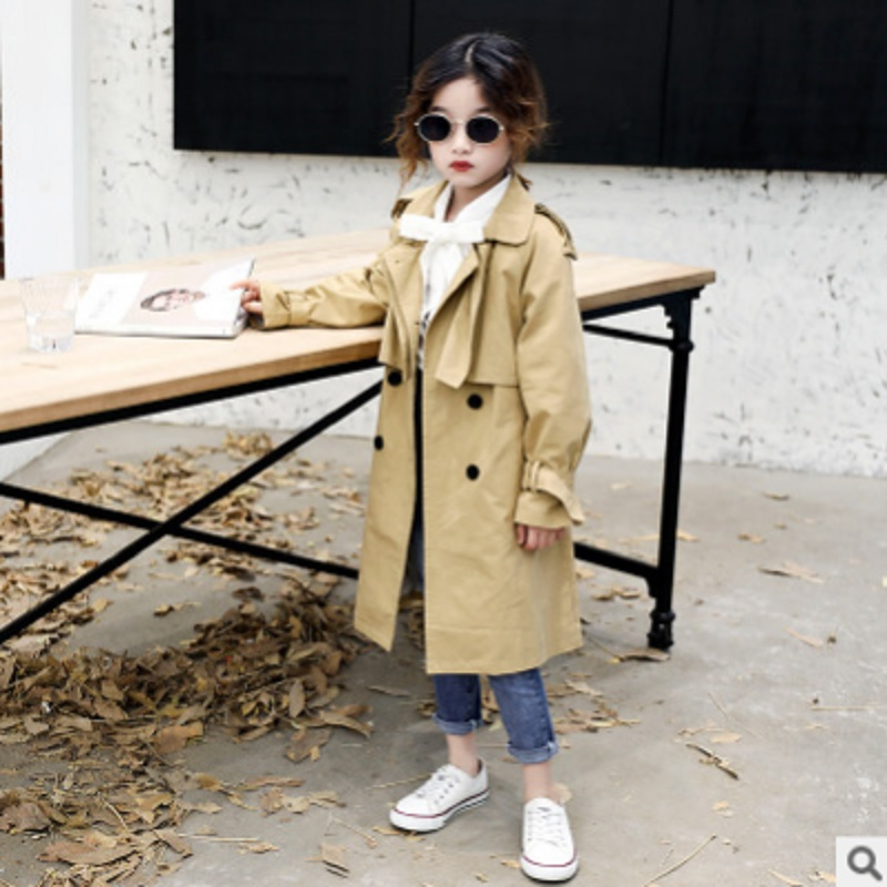 Girls Waist Trench Coat 2019 New Spring and Autumn