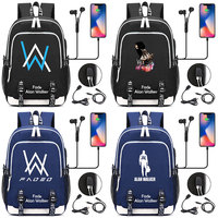 Fashion Electronic Music DJ Fade Alan Walker letter USB Boy Girl Book School bag Women Teenagers Men Laptop Backpack Packsack
