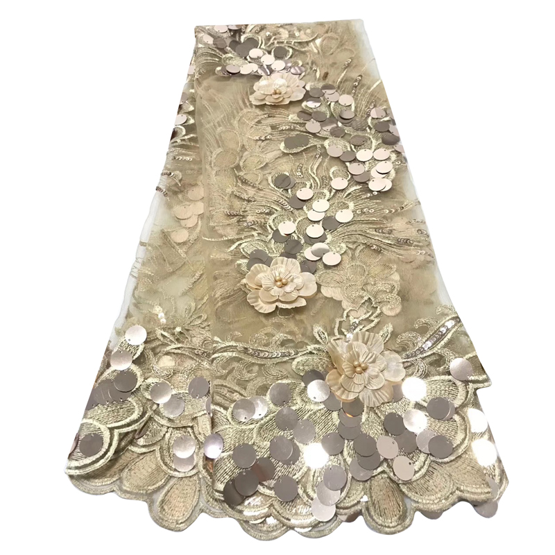 2020 Fashionable Latest African Lace Fabric Beautiful Gold Embroidered With Sequins 3D Flowers Best Quality Tulle Lace For Dress