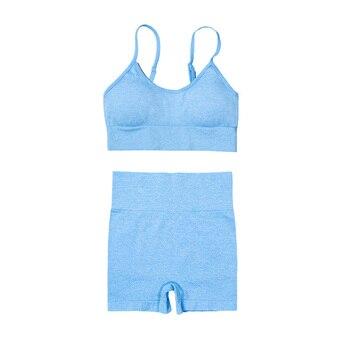 4PCS Seamles Sport Set Women Purple Two 2 Piece Crop Top T-shirt Bra Legging Sportsuit Workout Outfit Fitness Wear Yoga Gym Sets 7