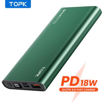 TOPK Power Bank 10000mAh przenośna ładowarka LED zewnętrzna bateria PowerBank PD dwukierunkowe szybkie ładowanie PoverBank dla iPhone Xiaomi mi tanie i dobre opinie Bateria litowo-polimerowa Wbudowane przewody Wyświetlacz cyfrowy USB typu A USB typu C CN (pochodzenie) Micro Usb Metal