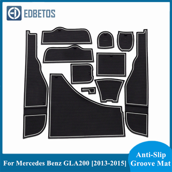 Non-Slip Gate Slot Mat Rubber Cup Holder Sticker For Mercedes Benz GLA200 220 260 2013 2014 2015 Gate Slot Pad Door Groove Mat image