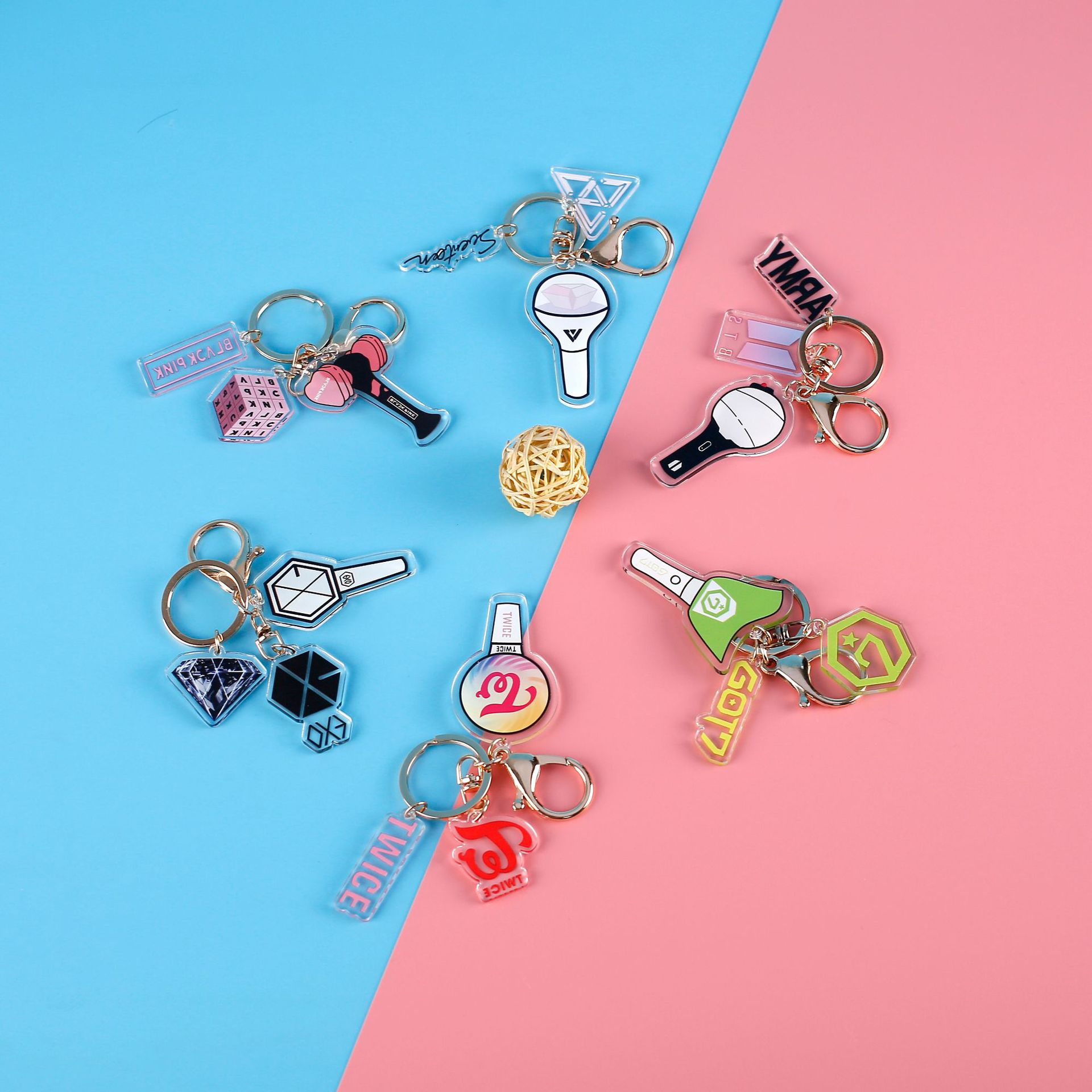 Kpop Korean Band Blackpink Exo Twice Acrylic Pendent Key Ring