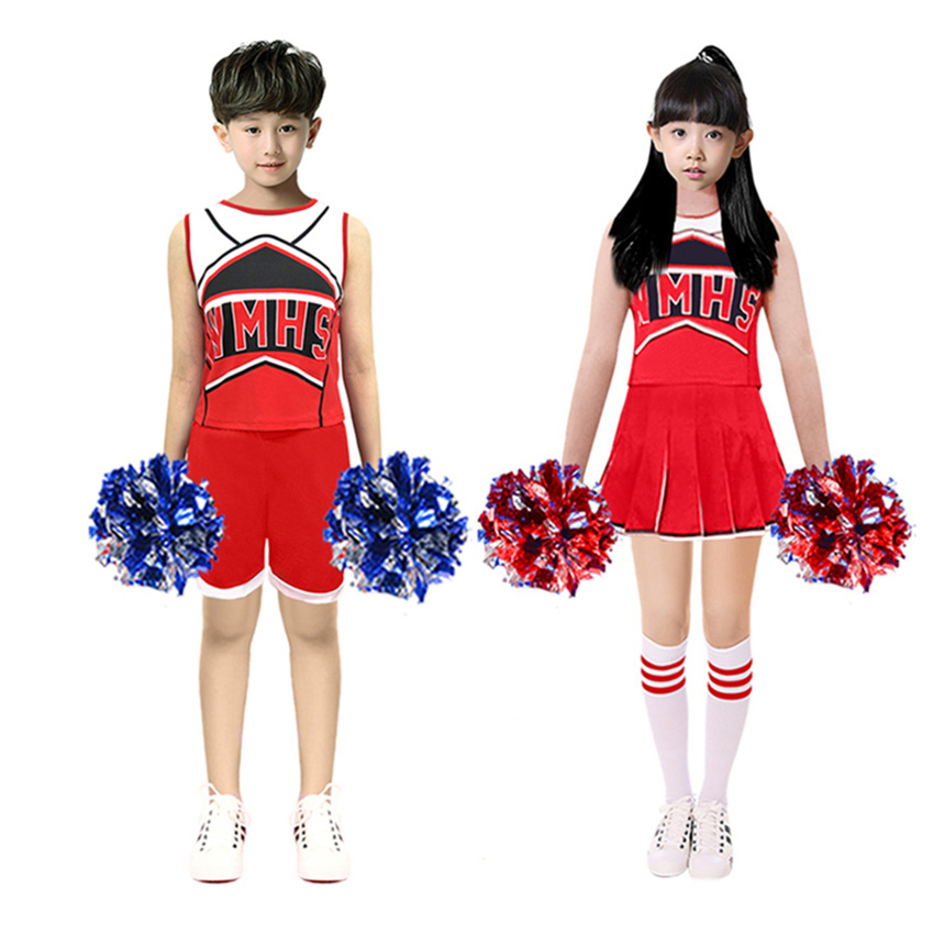 110-170cm Sleeveless Basketball Football Game Kids School Uniform Kids Boys Girls Skirt Dance Cheerleader Costumes